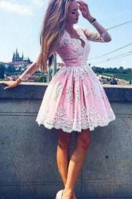 Pink Cocktail Dresses Prom Dresses With Sleeves A-Line Lace Evening Wear_2