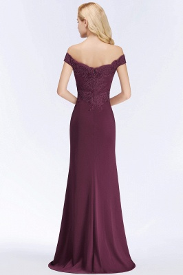 Wine red simple evening dresses long cheap with lace prom dresses online_5