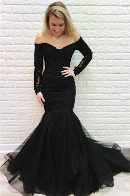 Elegant Evening Dresses Long Black Lace | Prom dresses with sleeves_1