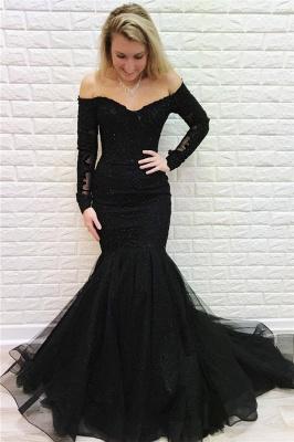 Elegante Abendkleider Lang Schwarz Spitze | Abiballkleider mit Ärmel_1