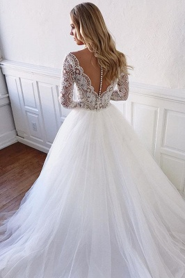 Elegant wedding dresses with lace sleeves | Wedding Dress A Line Online_2