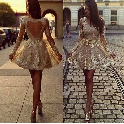 Elegant evening dresses with lace | Cocktail dresses with sleeves gold_1