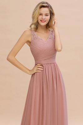 Schlichte Brautjungfernkleider Lang Chiffon | Rosa Kleid für Brautjungfern_14