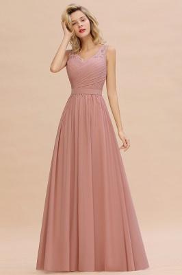 Schlichte Brautjungfernkleider Lang Chiffon | Rosa Kleid für Brautjungfern_8