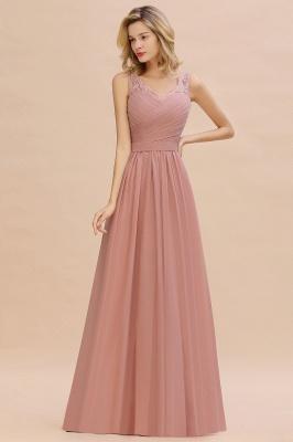 Schlichte Brautjungfernkleider Lang Chiffon | Rosa Kleid für Brautjungfern_10