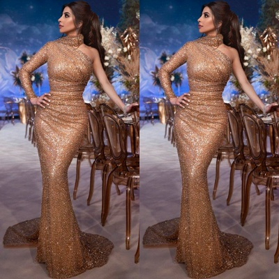 Luxury evening dress with sleeves | Long evening dresses with glitter_2