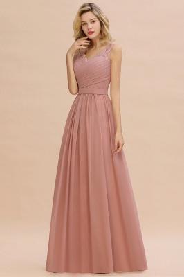 Schlichte Brautjungfernkleider Lang Chiffon | Rosa Kleid für Brautjungfern_11