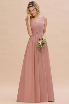 Schlichte Brautjungfernkleider Lang Chiffon | Rosa Kleid für Brautjungfern_13