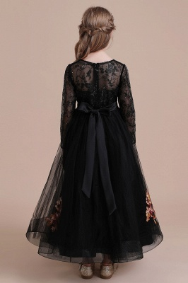 Flower girl festive dress wedding | Black flower girl dresses cheap_3