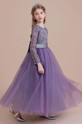 Purple Flower Children Dresses Long Sleeve | Flower girl dress tulle_8