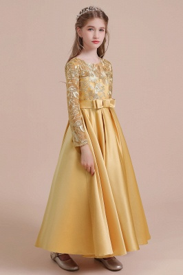 Gold Flower Girl Dresses Cheap | Flower girl dress long sleeve_4