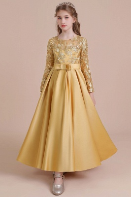 Gold Flower Girl Dresses Cheap | Flower girl dress long sleeve_9