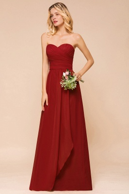 Brautjungfernkleider Lang Rot | Chiffon Kleider für Brautjungfern_5