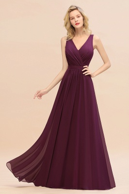 Purpur Brautjungfernkleider Lang Günstig   Hochzeitspartykleider Online_5