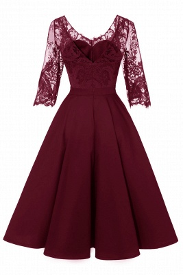 Lace dress Bordeaux red | Lace dress with sleeves_13