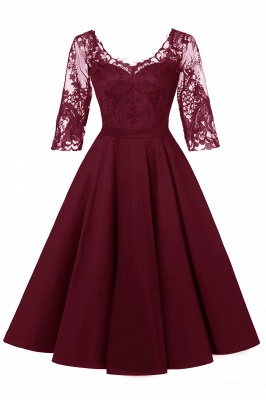 Lace dress Bordeaux red | Lace dress with sleeves_1