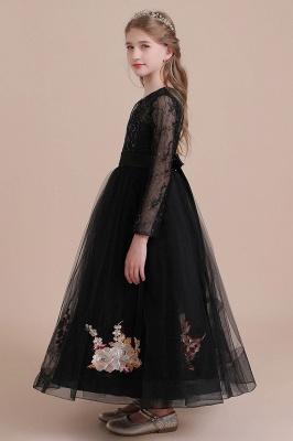 Flower girl festive dress wedding | Black flower girl dresses cheap_9