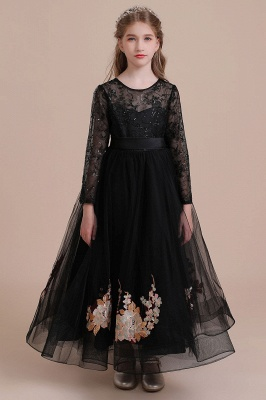 Flower girl festive dress wedding | Black flower girl dresses cheap_4