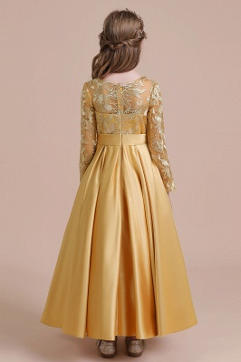 Gold Flower Girl Dresses Cheap | Flower girl dress long sleeve_3