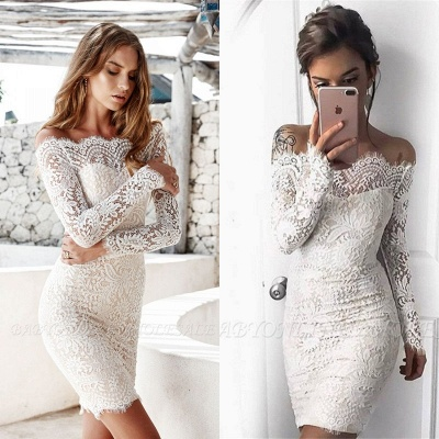 Cheap Cocktail Dresses With Sleeves Lace Mermaid Short Evening Dresses Under 100_2