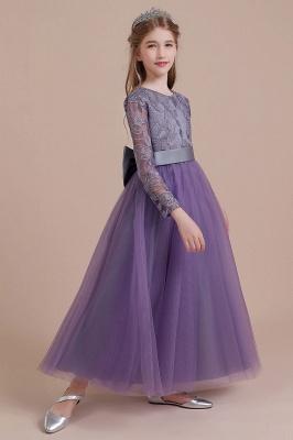 Purple Flower Children Dresses Long Sleeve | Flower girl dress tulle_7