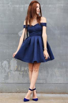 Dunkel Blau Cocktailkleider Günstig A Linie Kurze Abendkleider online_2