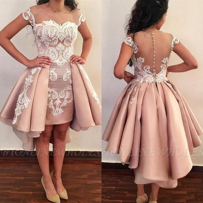 Pink Cocktail Dresses Short With Lace A Line Party Dresses Cheap Online_2