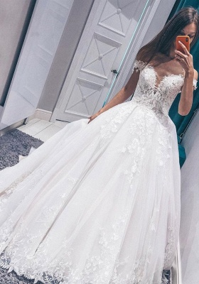 Designer wedding dresses with lace | Cheap wedding dresses A line_1