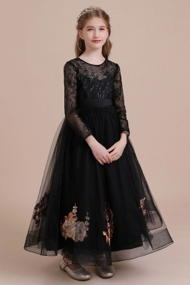 Flower girl festive dress wedding | Black flower girl dresses cheap_6