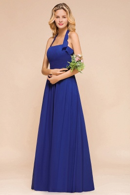 Känig Blau Brautjungfernkleider Lang Günstig   Hochzeitspartykleider Chiffon_8