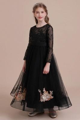 Flower girl festive dress wedding | Black flower girl dresses cheap_5