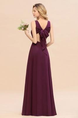 Purpur Brautjungfernkleider Lang Günstig   Hochzeitspartykleider Online_3