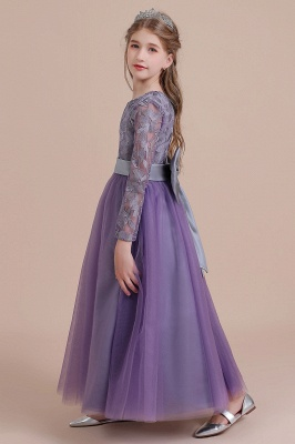 Purple Flower Children Dresses Long Sleeve | Flower girl dress tulle_6