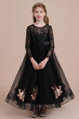 Flower girl festive dress wedding | Black flower girl dresses cheap_1