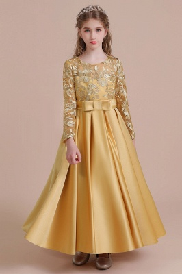 Gold Flower Girl Dresses Cheap | Flower girl dress long sleeve_8