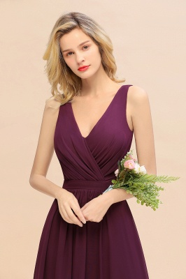 Purpur Brautjungfernkleider Lang Günstig   Hochzeitspartykleider Online_8