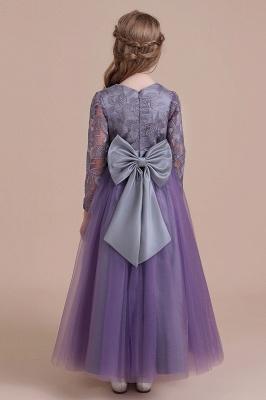Purple Flower Children Dresses Long Sleeve | Flower girl dress tulle_3