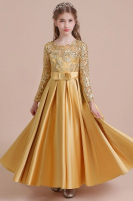 Gold Flower Girl Dresses Cheap | Flower girl dress long sleeve_1