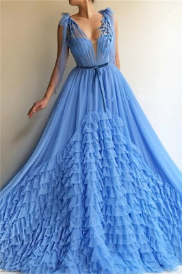 Elegant Evening Dresses Long V Neck | Prom dresses blue_1