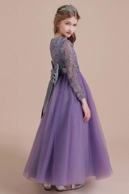 Purple Flower Children Dresses Long Sleeve | Flower girl dress tulle_9