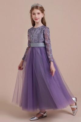Purple Flower Children Dresses Long Sleeve | Flower girl dress tulle_4