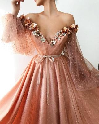Wunderschöne Abendkleid Lang Rosa | Abiballkleider mit Ärmel_2