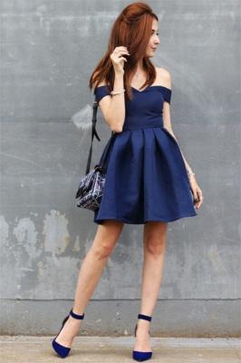 Dunkel Blau Cocktailkleider Günstig A Linie Kurze Abendkleider online_1
