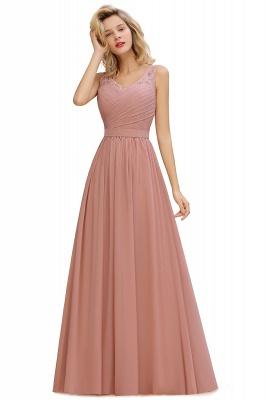 Schlichte Brautjungfernkleider Lang Chiffon | Rosa Kleid für Brautjungfern_2
