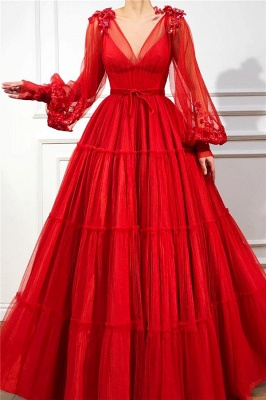 Red evening dresses long | Prom dresses with sleeves cheap