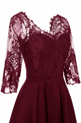 Lace dress Bordeaux red | Lace dress with sleeves_14