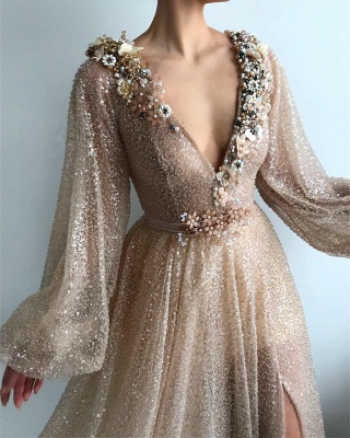 Prom dresses long glitter gold | Evening dresses with sleeves_2