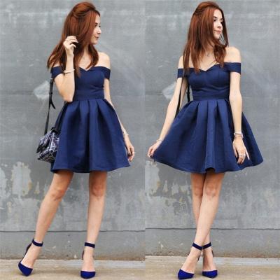 Dunkel Blau Cocktailkleider Günstig A Linie Kurze Abendkleider online_3