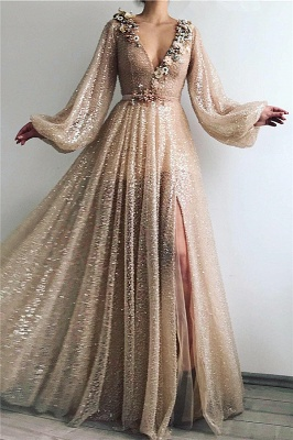 Prom dresses long glitter gold | Evening dresses with sleeves
