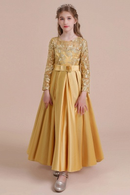 Gold Flower Girl Dresses Cheap | Flower girl dress long sleeve_10